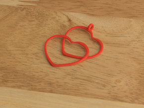 2 Hearts necklace pendant in Red Strong & Flexible Polished