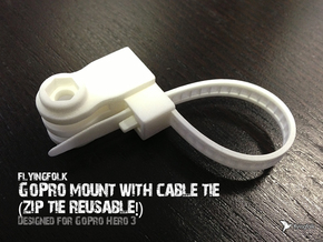 GoPro mount with cable tie (zip tie reusable!) in White Strong & Flexible Polished