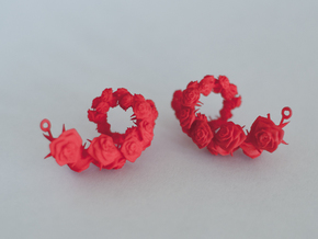 Rose Earrings in Red Strong & Flexible Polished
