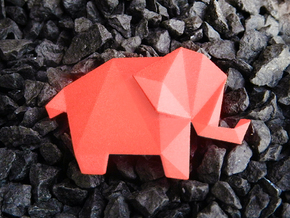 Origami Elephant  in Red Strong & Flexible Polished