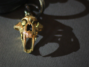 saber tooth keychain in Polished Bronze