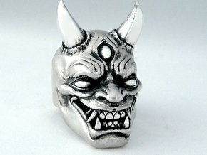 Japanese Hannya Demon in Raw Silver