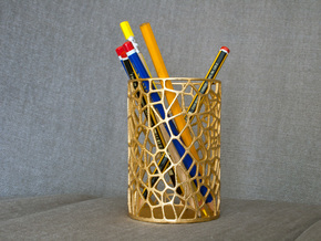 Pen Holder Voronoi in Polished Gold Steel
