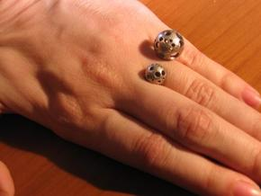 Double Moonball Ring S/M in Stainless Steel