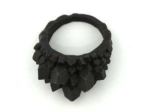 Crystal Ring size 7 in Matte Black Steel