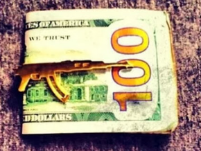 AK-47 MONEY/TIE CLIP in Polished Gold Steel