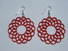 Moebius Round Earrings in Red Strong & Flexible Polished
