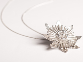 Passion Flower in Polished Silver