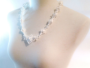 Necklace_octahedrons in White Strong & Flexible