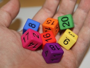 Seven Non-Transitive Dice in White Strong & Flexible Polished