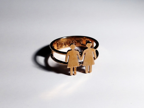Love Rings - Woman and Woman Ring (Size 6) in Polished Bronze