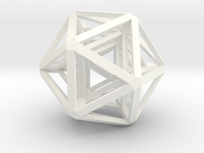 Icosahedron x 3 in White Strong & Flexible Polished