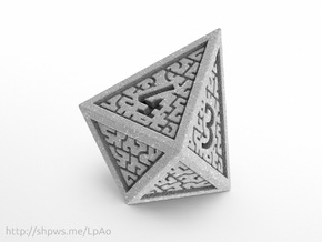 Hedron D4 (Solid), balanced gaming die in Polished Metallic Plastic