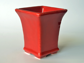 Square Bonsai-Style Shot Glass in Gloss Red Porcelain