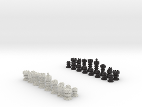 3D Pixel Chess Pieces - Classic Black & White in Full Color Sandstone