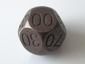 D Percent Sphere Dice in Polished Bronze Steel