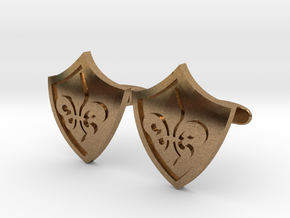 Fleur De Lis Shield Cufflinks in Raw Brass