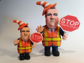 Small - Chris Christie directing traffic BridgeGat in Full Color Sandstone