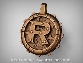 "Steampunk Monogram Pendant ""R"" in Raw Bronze"