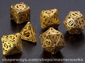 Steampunk Dice Set noD00 in Matte Gold Steel