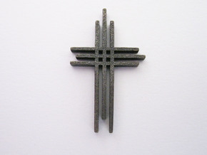 Cross Pendant in Polished Grey Steel