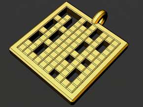 prime numbers 1-100 pendant in Matte Gold Steel