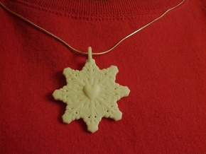 Heart Snowflake Pendant in White Strong & Flexible Polished