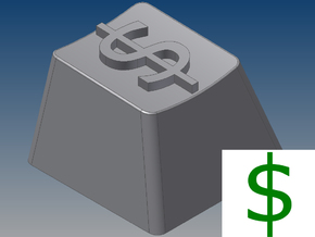 """Dollar Sign """"$"""" Keycap (R4, 1x1) in White Strong & Flexible"""