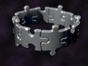 Puzzle Ring 01 size 9  in Raw Silver