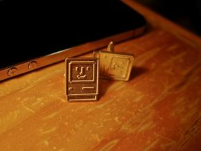 Happy Computer Cufflinks in Raw Silver