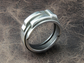 Techno ring in Polished Silver