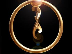 Keyring with Twisted French Curve in Polished Gold Steel