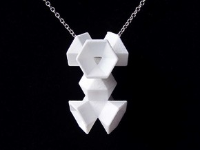 Double Hexagon Flower in White Strong & Flexible Polished