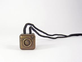 Instagram Style Camera (Pendant 16mm) in Polished Bronze Steel