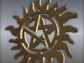 Supernatural warding pendant in Polished Bronze Steel