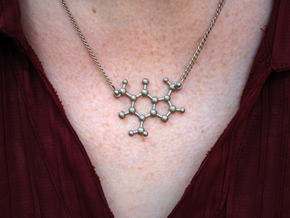 Caffeine Molecule Pendant in Polished Nickel Steel