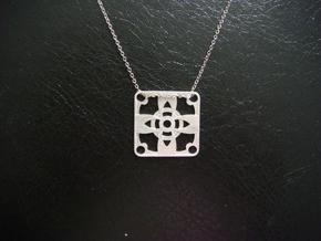 Square Pendant or Charm - Four Petal Flower in Raw Silver