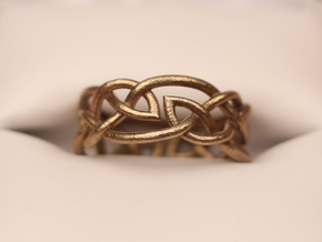 Double Leaf Celtic Knot Ring Size 6.5 in Raw Brass