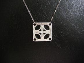 Square Pendant or Charm - Four Petal Flow in Raw Silver
