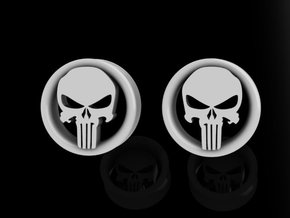 1 Inch Revenge Skull Plugs  in Frosted Ultra Detail