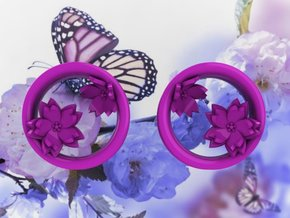 Cherry Blossom 1 Inch Tunnels in Purple Strong & Flexible Polished