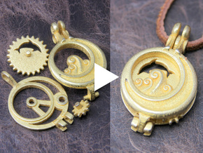 "Rotate Pendant ""Dolphin and Moon"" in Polished Gold Steel"