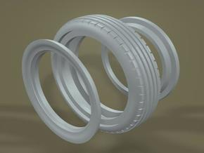 1/8 Firestone (version A) 3 pc. Front Midget Tire in White Strong & Flexible