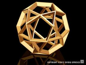 Polyhedral Sculpture #21A in Polished Gold Steel
