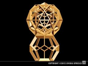 Polyhedral Sculpture #24 in Polished Gold Steel