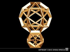 Polyhedral Sculpture #25 in Polished Gold Steel