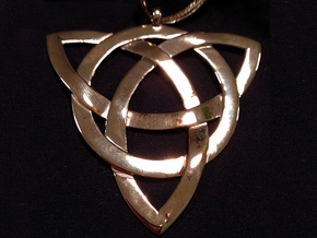 Large Celtic Knot Pendant (Inverted Triquetra) in Polished Bronze