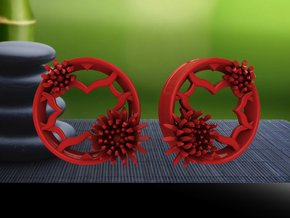 2 Inch Chrysanthemum Tunnels (LEFT) in Red Strong & Flexible Polished