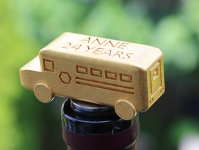 School Bus Wine Topper in Polished Gold Steel