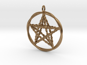 Pentacle pendant - woven in Raw Brass